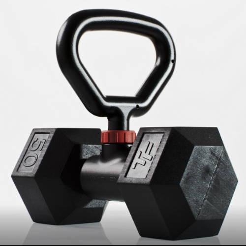 The Hyperbell kettlebell handle, attached to a third-party dumbbell