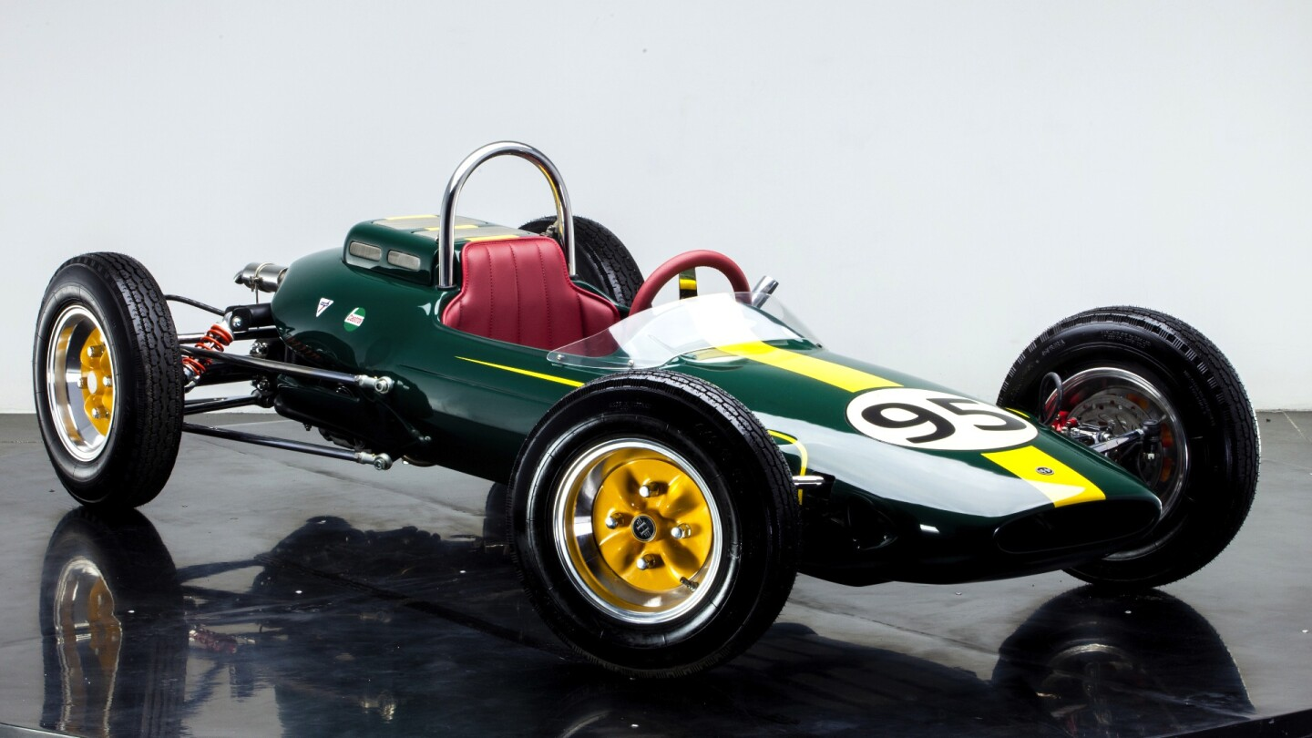 The two-thirds-scale HG F1 car is styled after the Lotus 25 in which Jim Clark won the 1963 World Formula One Title
