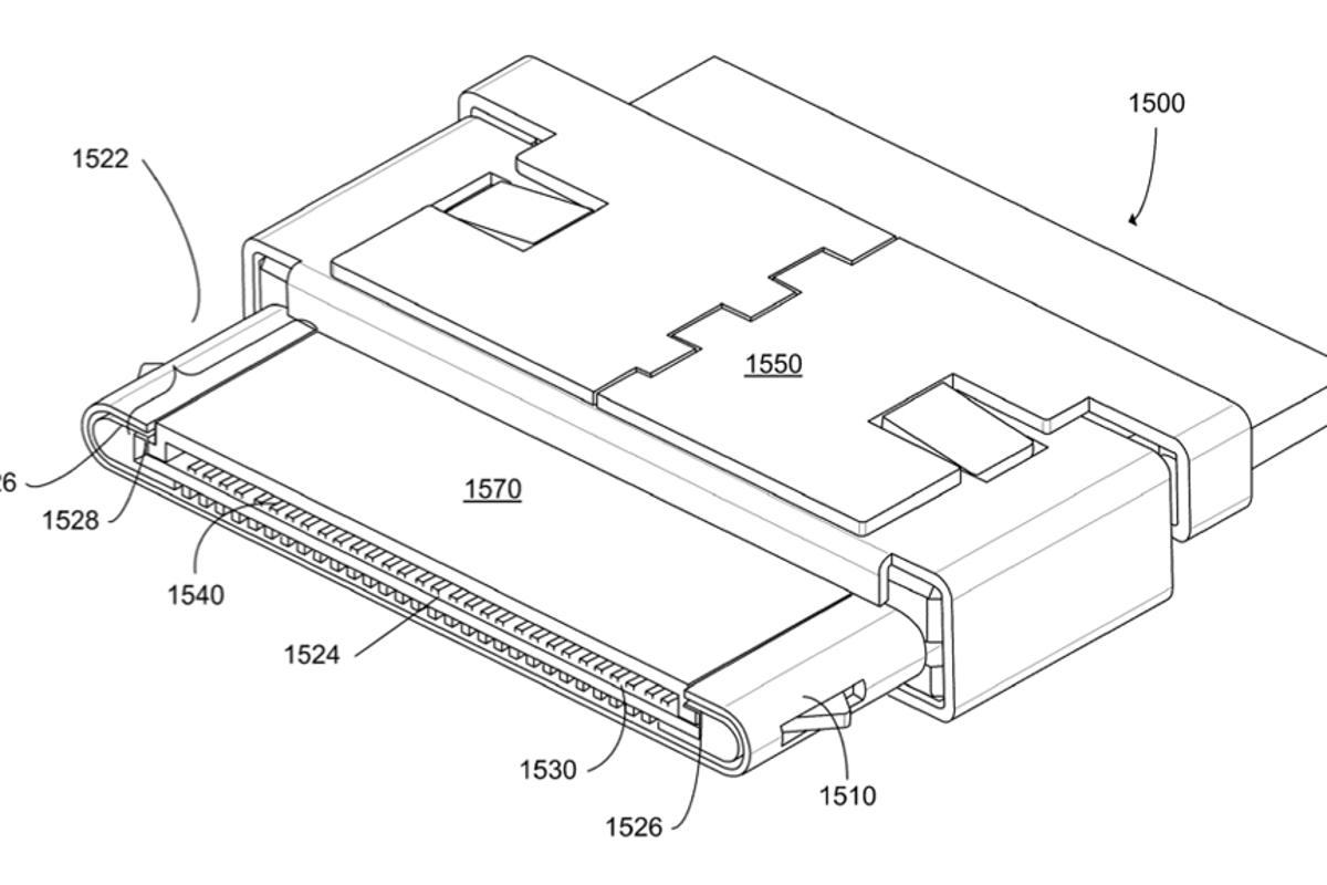Illustration from the patent application for Apple's new USB 3.0 and DisplayPort/Thunderbolt iOS connector