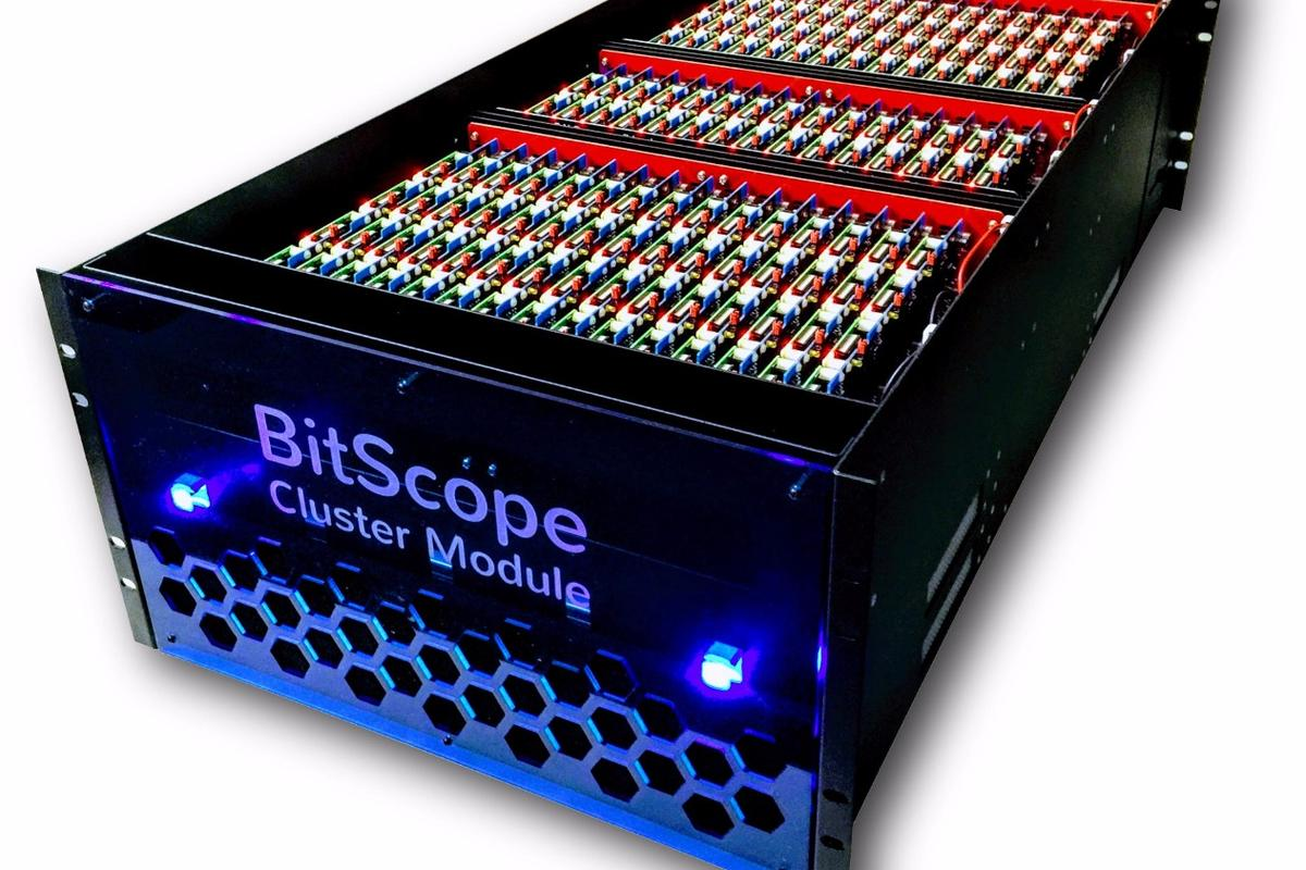 The BitScope Cluster Module comprises 150 Raspberry Pi mini computers with integrated network switches