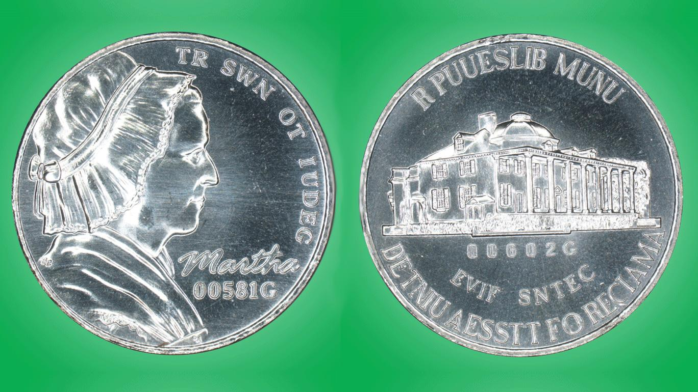 A test nickel with fake images and words to avoid violating US counterfeiting laws