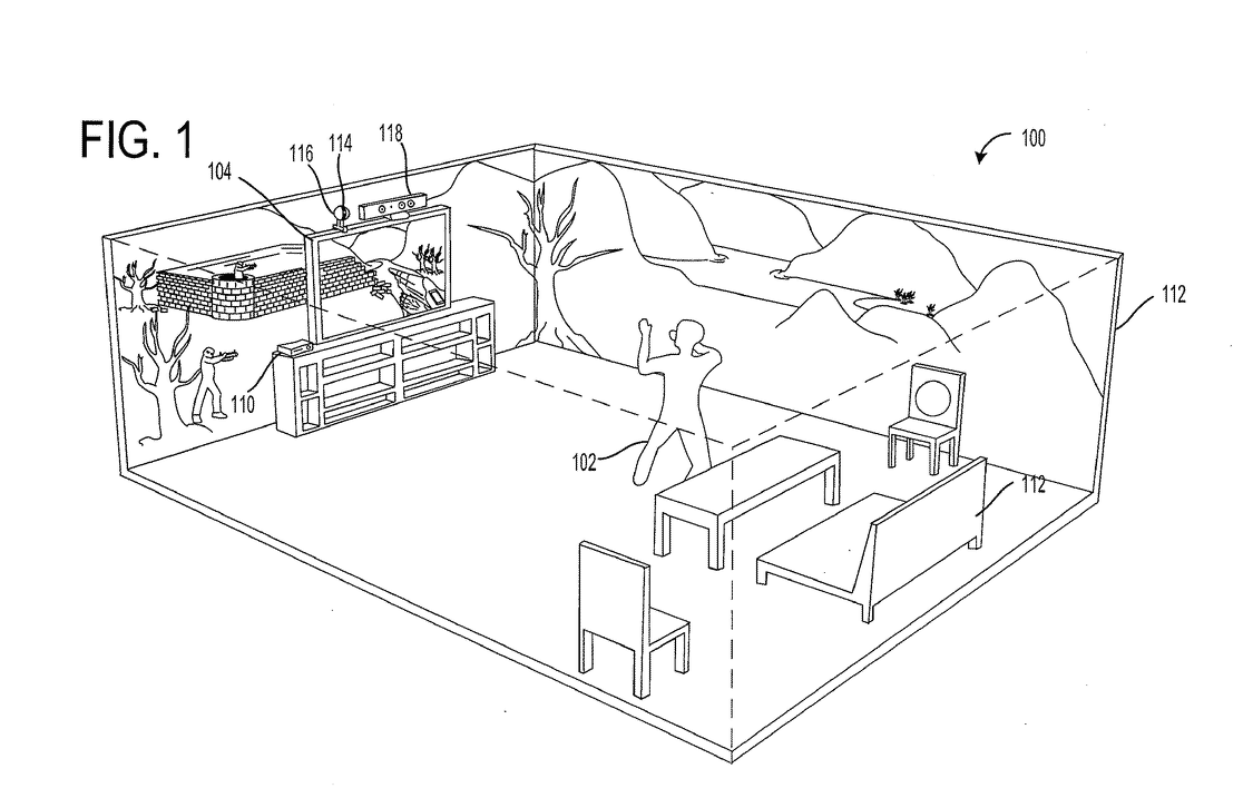 The Microsoft patent application conceives of your whole living space being part of the video game environment