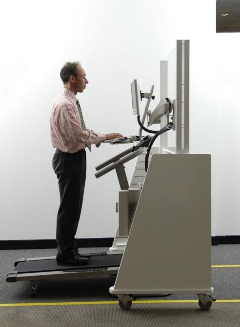 Dr. James Levine on his Walk-At-Work treadmill