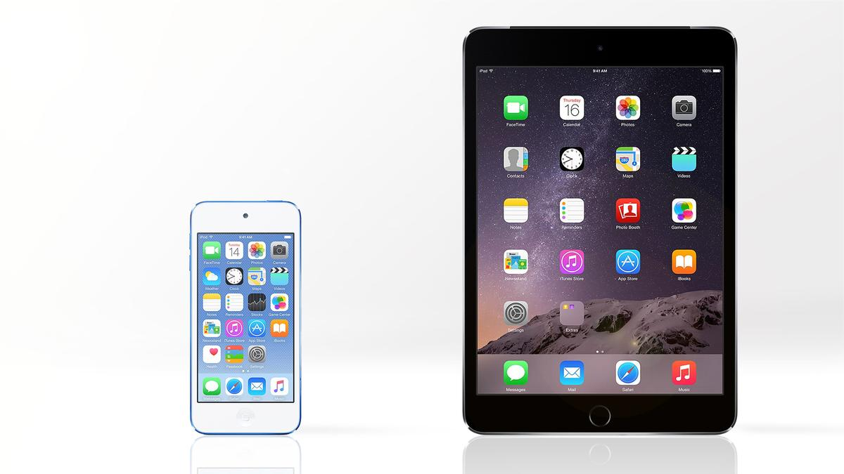 Gizmag compares the features and specs of the 6th generation iPod touch and the iPad mini 3