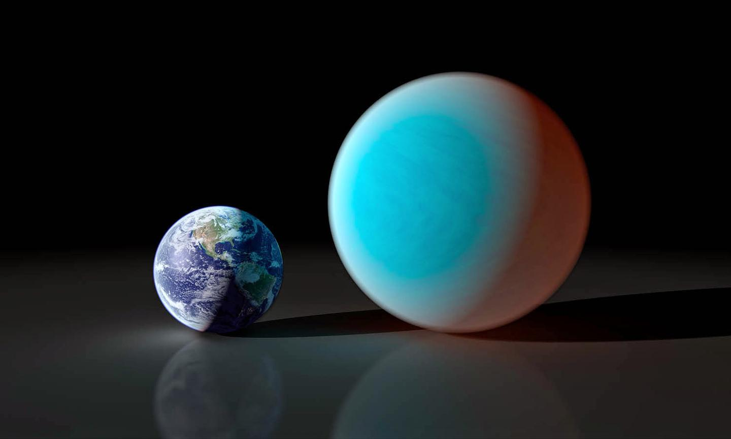 Artist's conception shows the Earth (left) compared to the super-Earth 55 Cancri e (right), whose transit across the front of its host star was detected from the ground (Image: NASA/JPL)