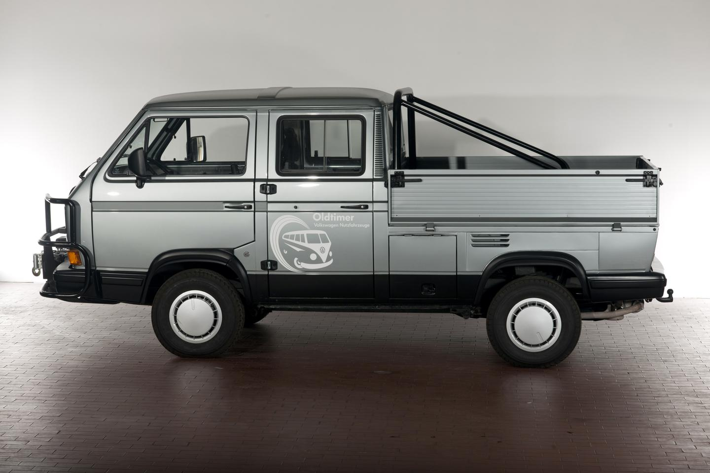 This 1988 Volkswagen T3 Double Cab TriStar has a 110-hp rear-mounted, water-cooled boxer engine