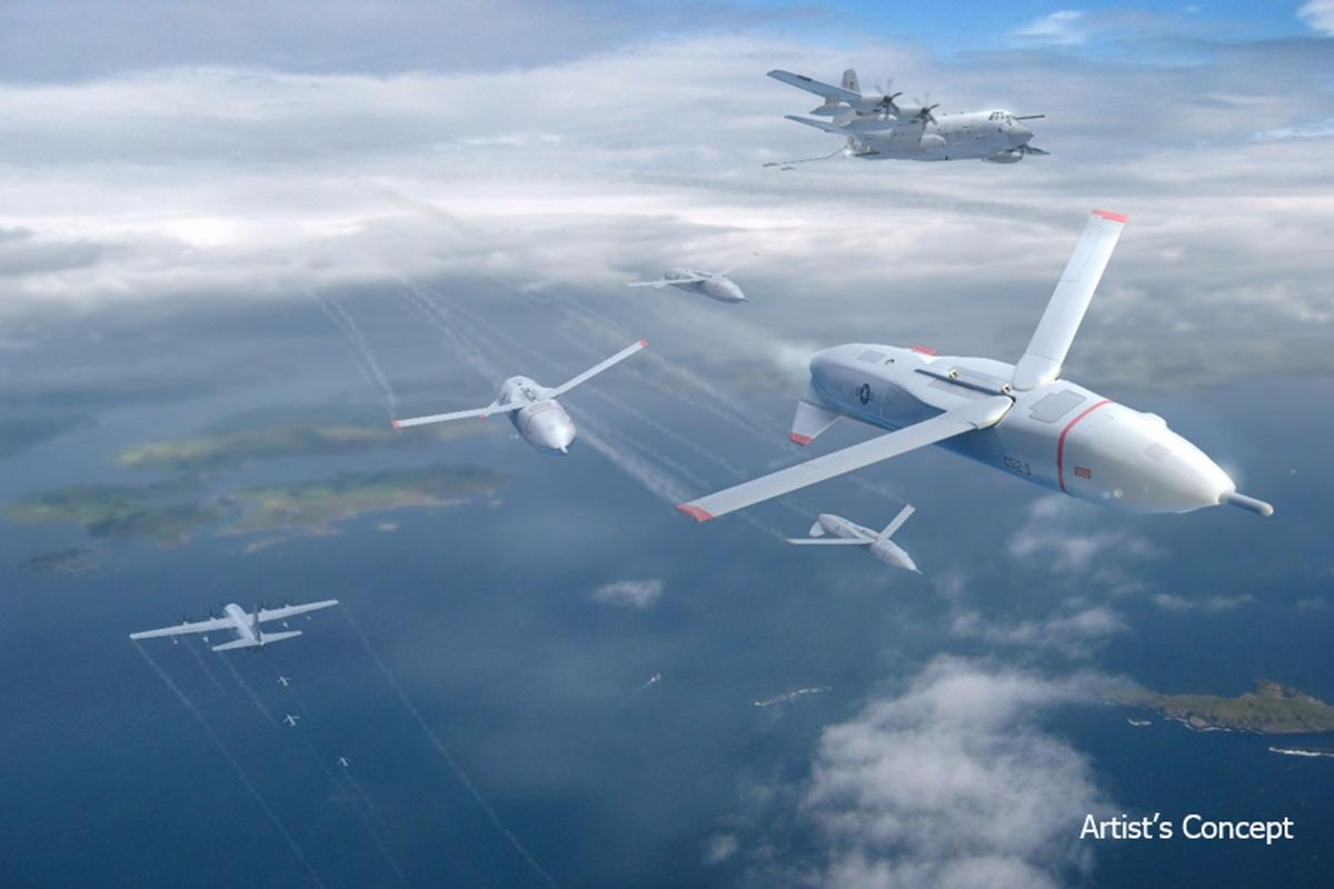Artist's concept of the Gremlins, which would supplement multi-role aircraft them with simpler, cheaper, specialized drones that can be deployed and recovered multiple times