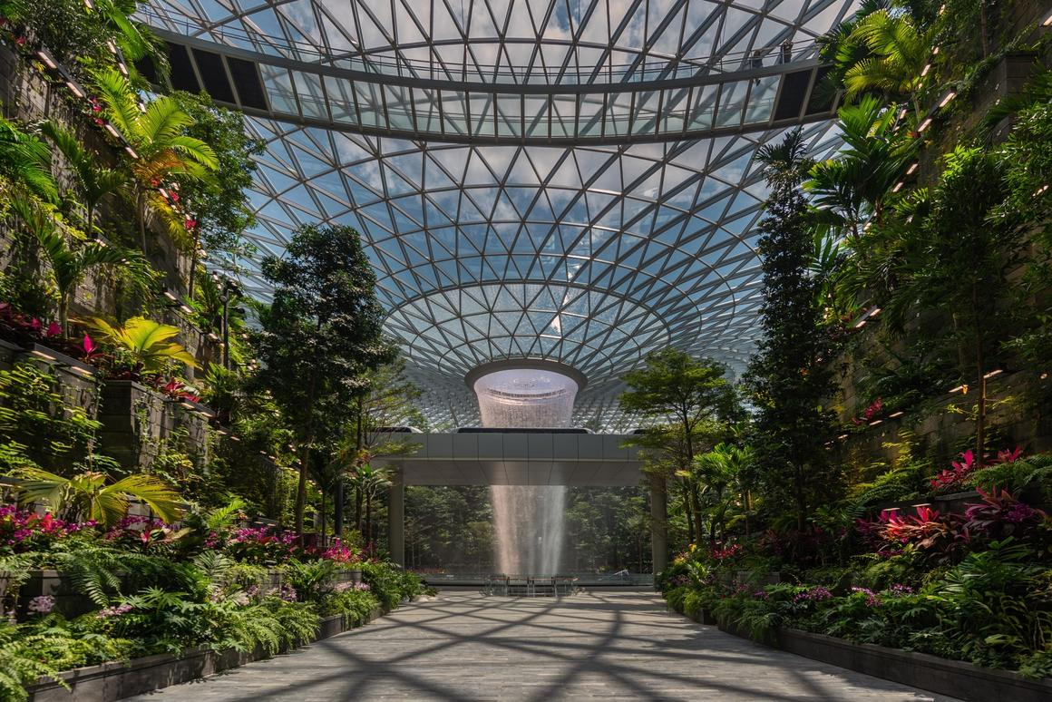 Jewel Changi Airport's waterfall measures 40 m (131 ft)-tall