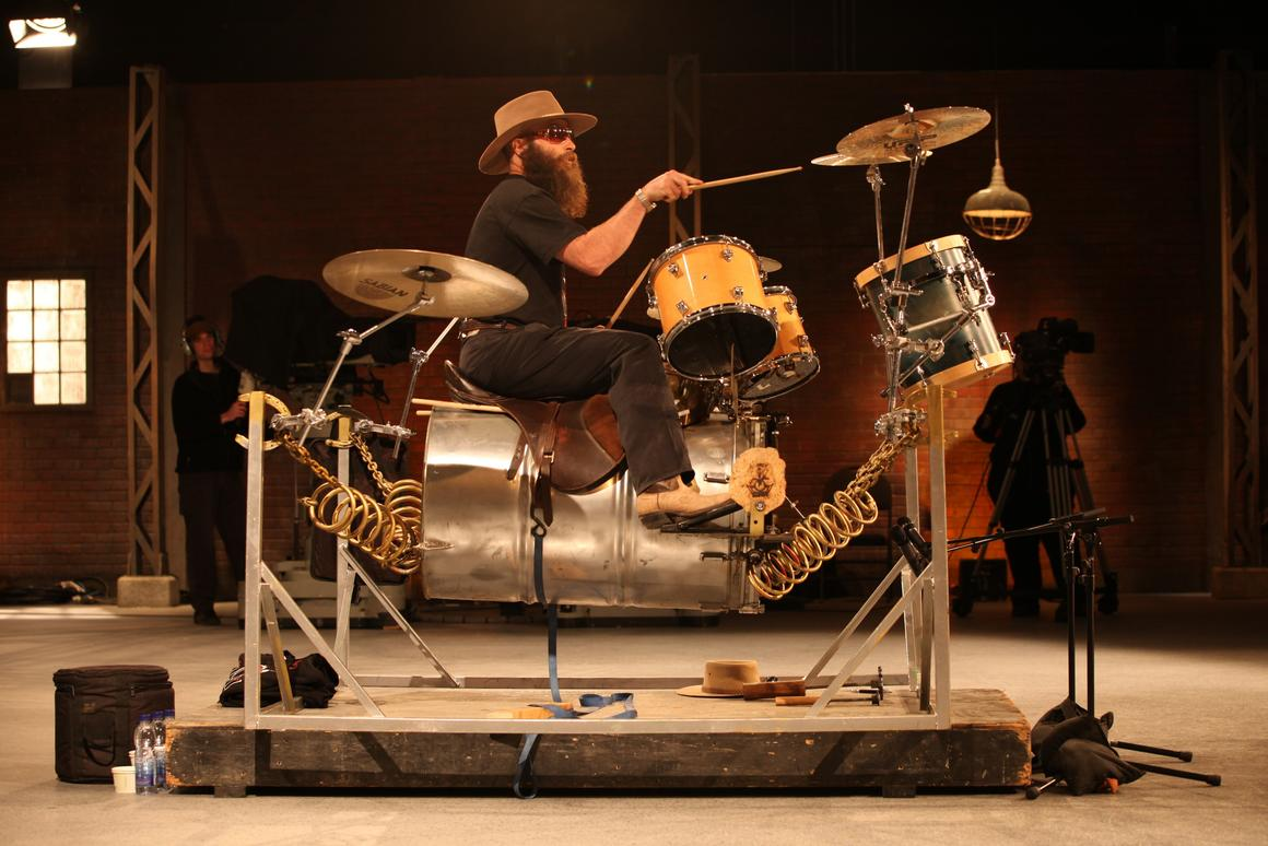 The Boingy Boingy is a spring-suspended drum kit, that allows drummers to give a more dynamic performance (Photo: CBC/Dragon's Den)