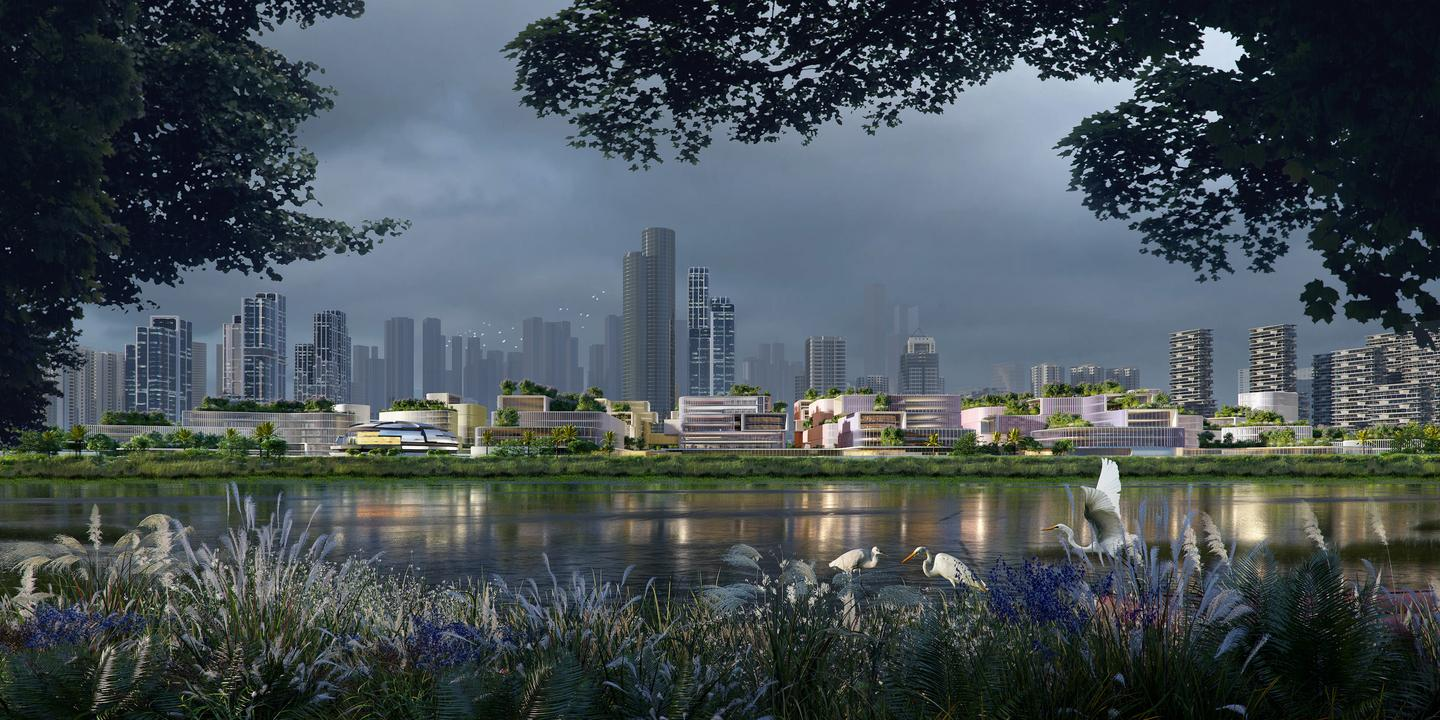 The Huanggang Port Area masterplan envisions turning a busy area of a Shenzhen port into a new science and technology hub
