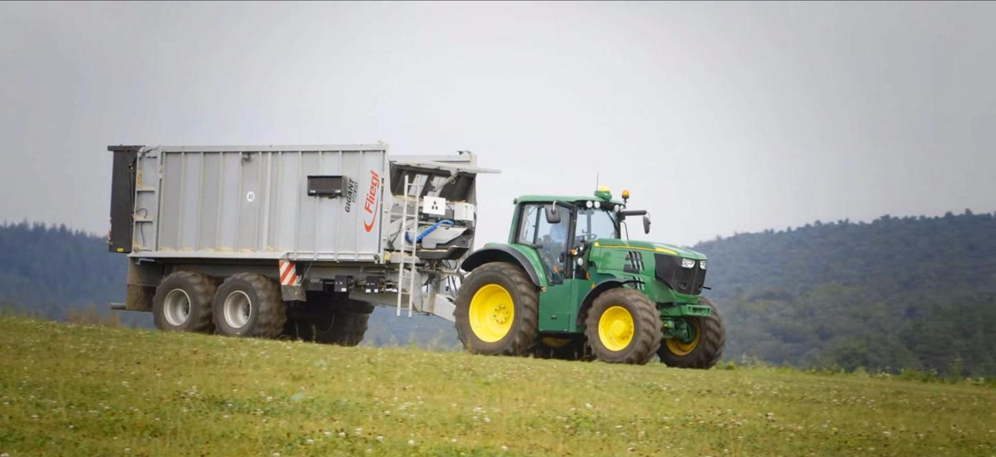 John Deere's SESAM electric tractor: regen braking will help refill the battery on downward slopes