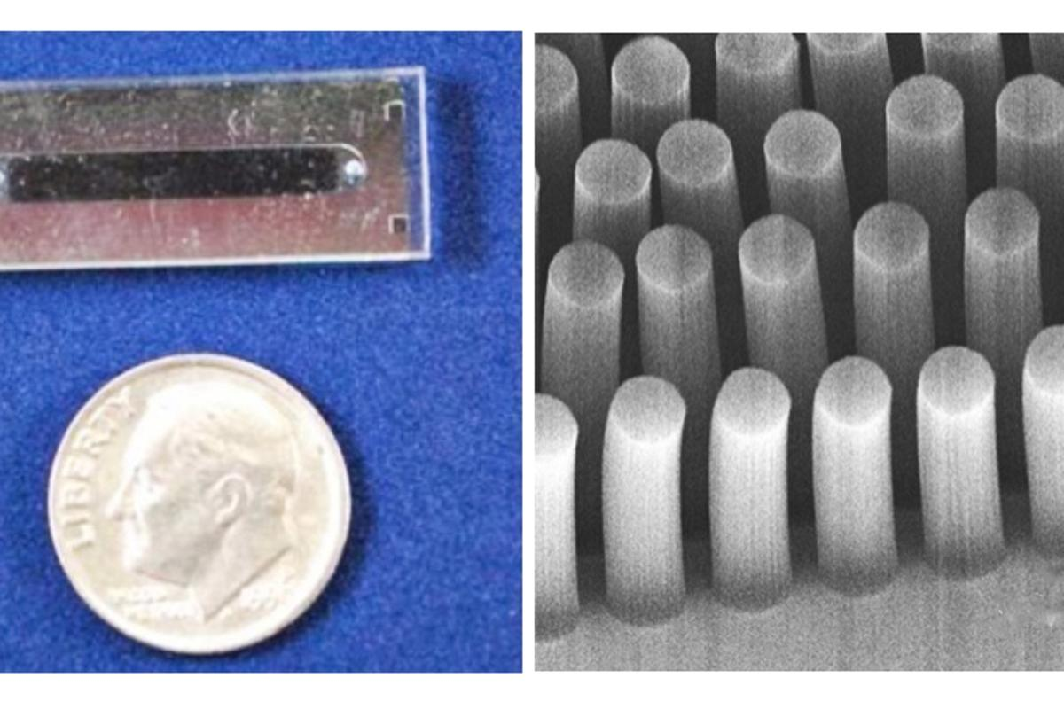 This tiny microfluidic device uses carbon nanotubes 30 microns in diameter to separate cancer cells from normal blood cells (Image: Brian Wardle)