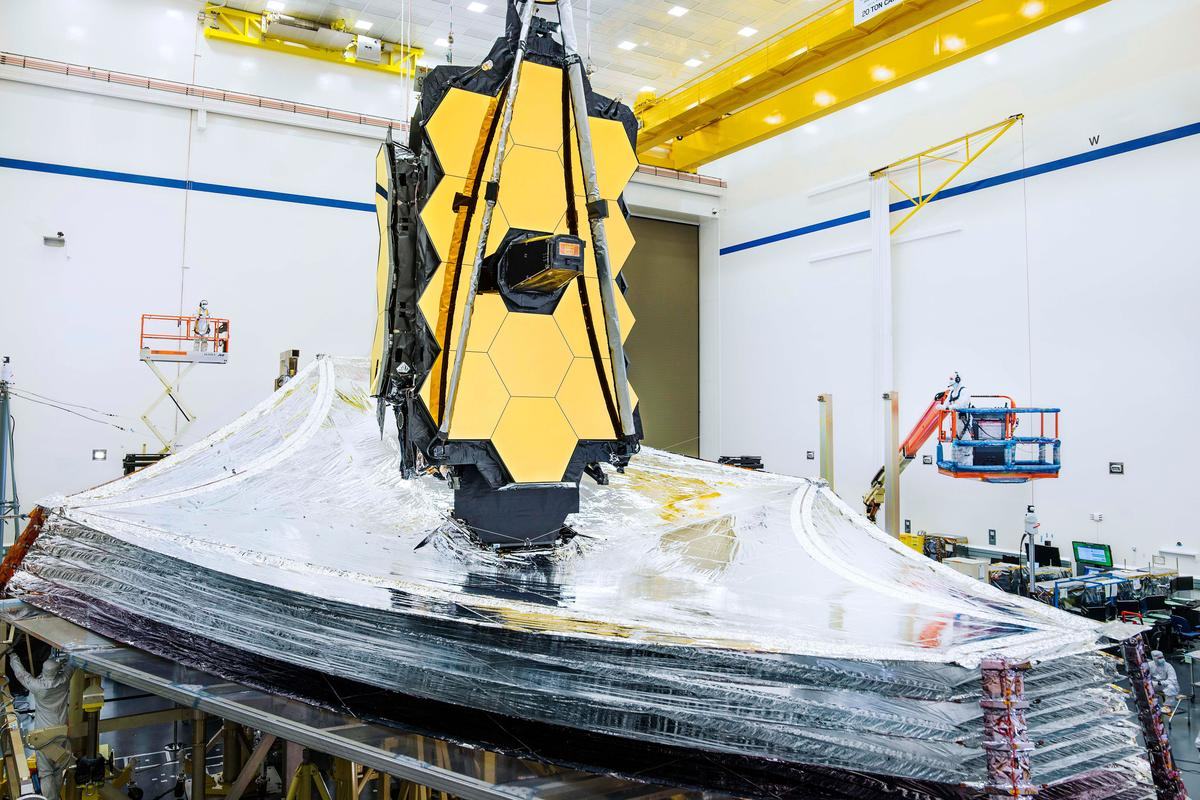 The JWST pictured during sunshield testing