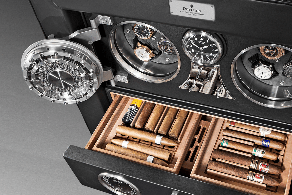 The Döttling Fortress showing Colosimo safes and humidor drawer