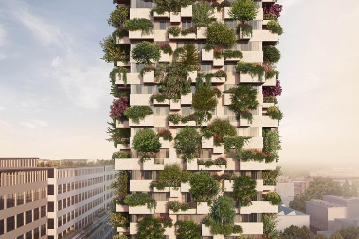 The Trudo Vertical Forestwill rise to a total height of 75 m (246 ft)and host 125 trees, 5,200 shrubs and over 70 plant species
