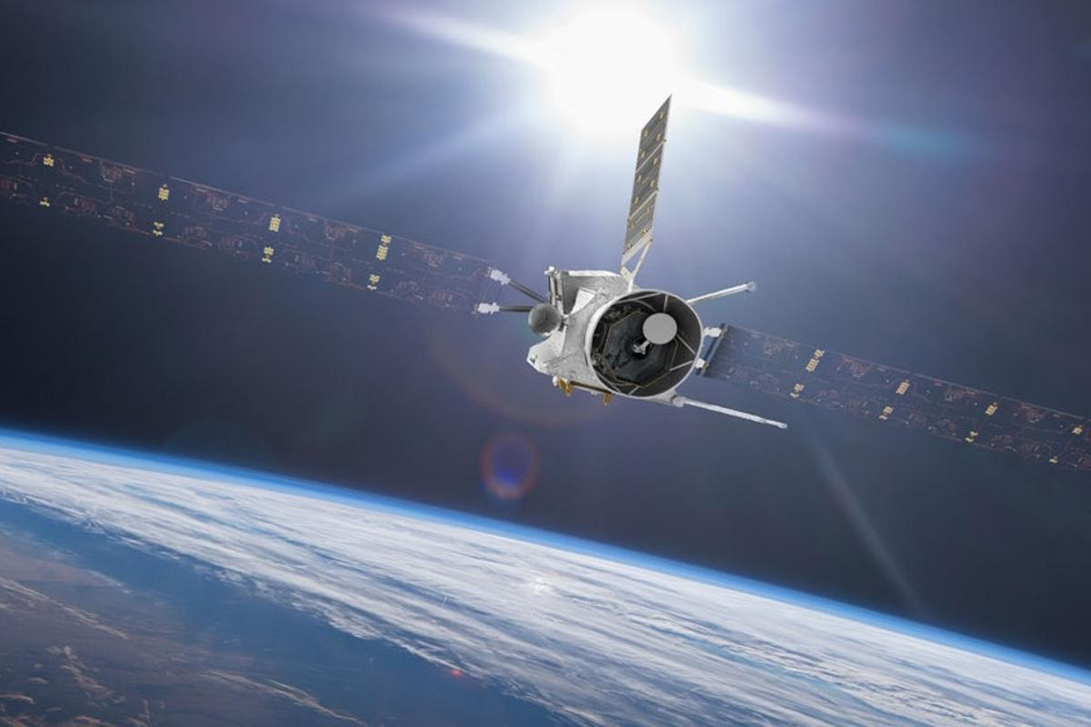 Rendering of BepiColombo during an Earth flyby