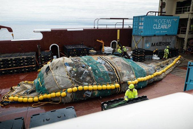 Plastic waste is hauled onboard as part of the Ocean Cleanup's latest test