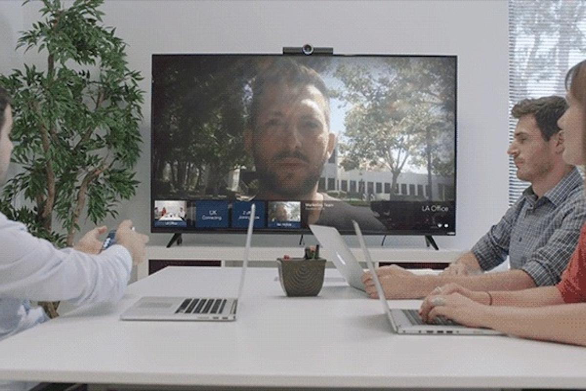Hello can host videoconference calls with people on other Hello devices, or through any smart device or webcam