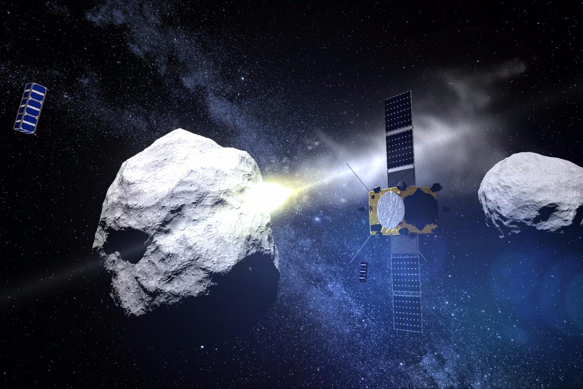 AIM and two CubeSats observe as DART collides with an asteroid