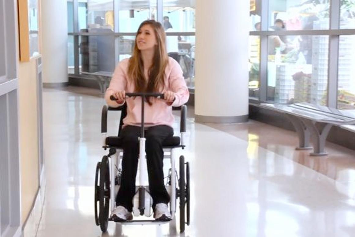 The RoChair is a wheelchair that is rowed by pushing and pulling on a central lever