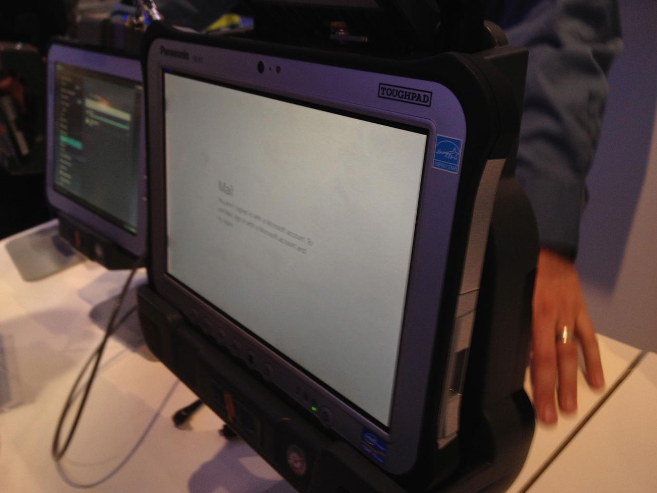 The Panasonic Toughpad on the show floor