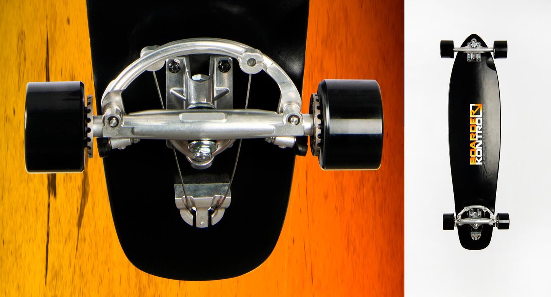 The Boarder Control Skateboard's braking mechanism