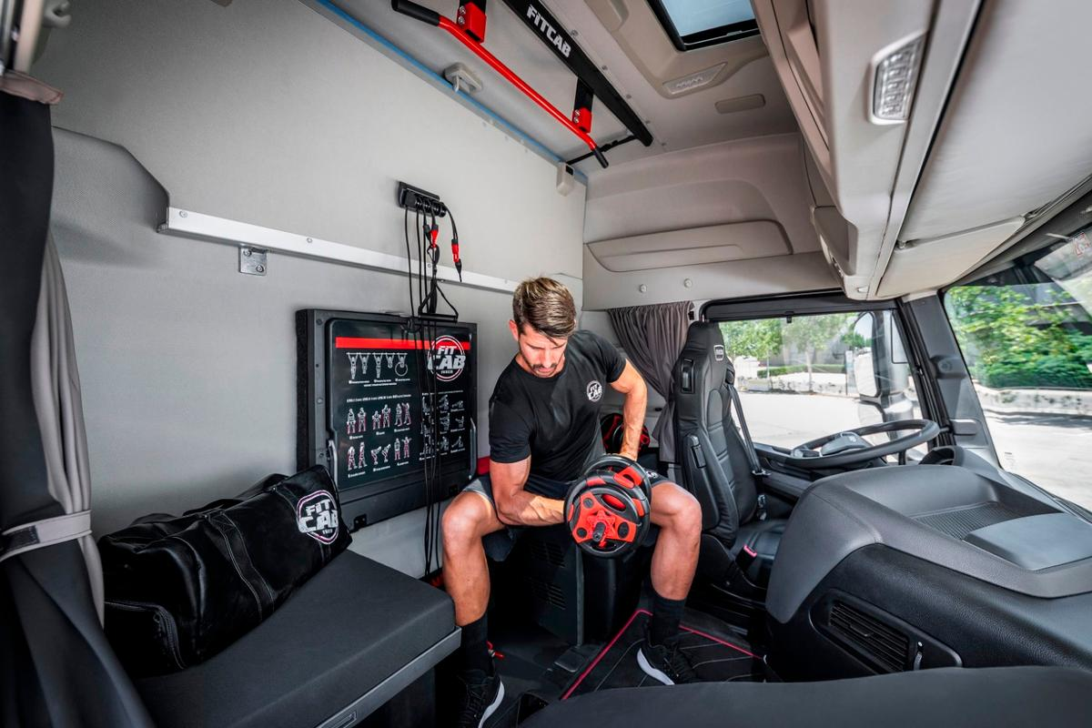 Onboard Iveco's Fit Cab concept is a package with an assortment of resistance bands, sliders and weights