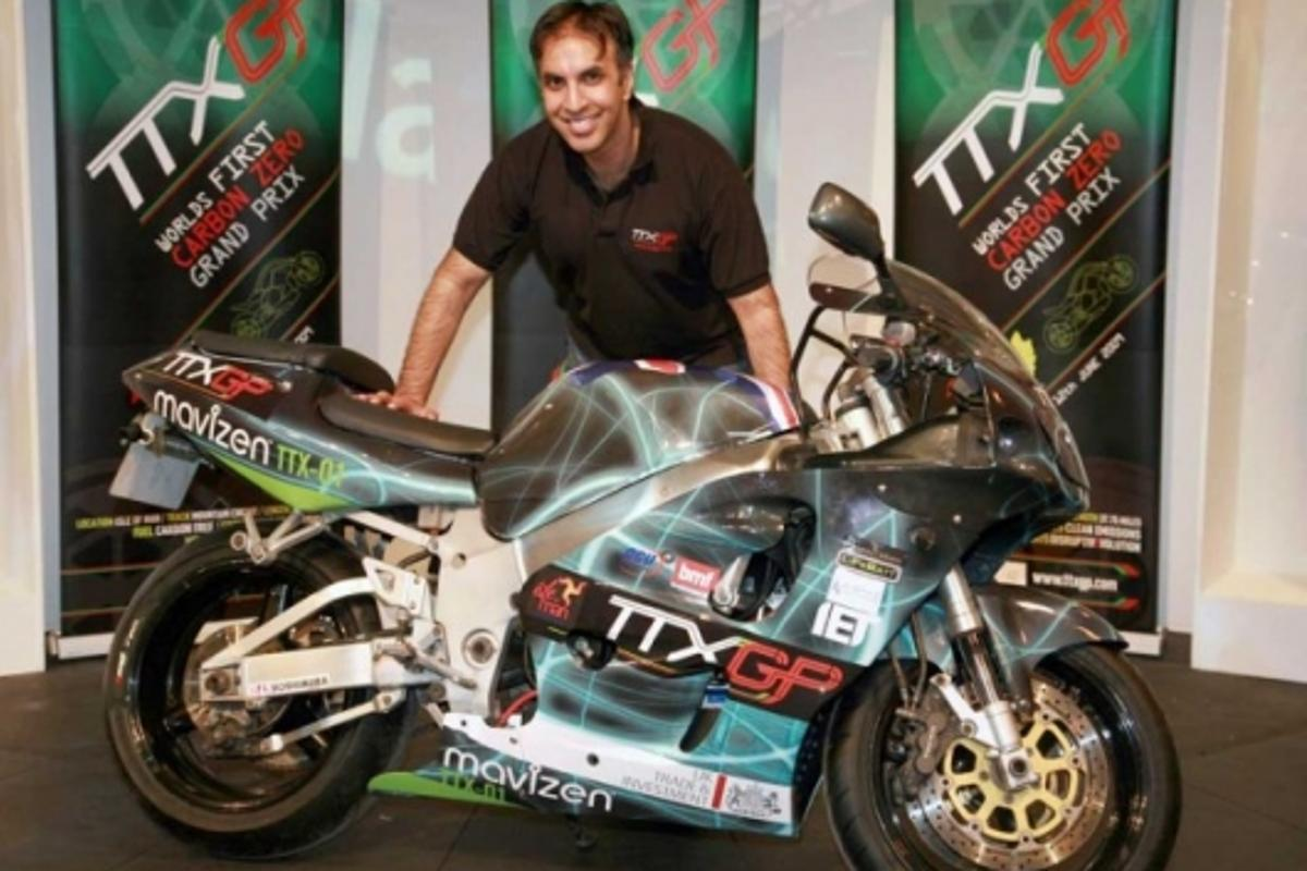 TTX GP founder Azhar Hussain and the bike he commissioned, the prototype TTX01.
