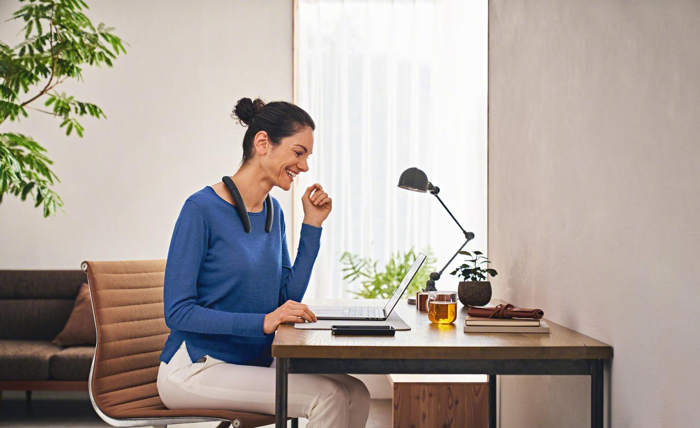 The adjustable neckband features two upfiring speakers for the promise of satisfying, open sound, and beamforming microphones that focus on a wearer's voice during calls