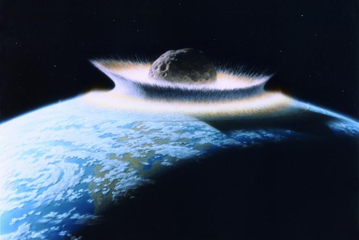 Artist's impression of a massive asteroid impact (Image: NASA/Don Davis)