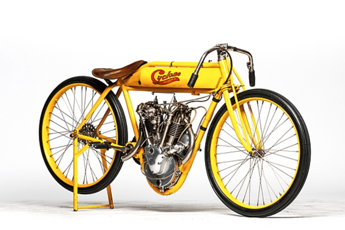 This one-hundred-year-old Cyclone Board Track racer going to auction next month could become just the third motorcycle in history to sell for more than a million dollars. One of just six in existence, a similar bike set the world auction record at $551,200 in 2008. The beautiful bevel-driven V-twin was capable of 111 mph and this particular bike has a golden provenance including ownership by the man with the midas touch, Steve McQueen. McQueen has multiple entries in the most valuable cars sold at auction, the most valuable movie cars sold at auction plus SEVEN entries in the top 100 motorcycles sold at auction. The bike was restored by noted author, historian and craftsman Stephen Wright.