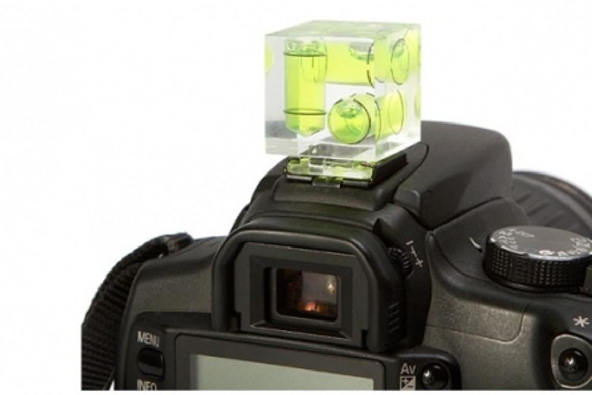 Camera cube level mounts on your camera's hot shoe