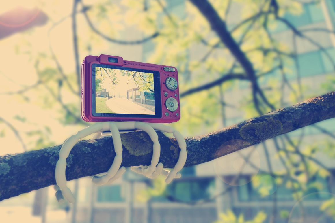 The Breffo Adventure Camera Kit can wrap around a tree branch