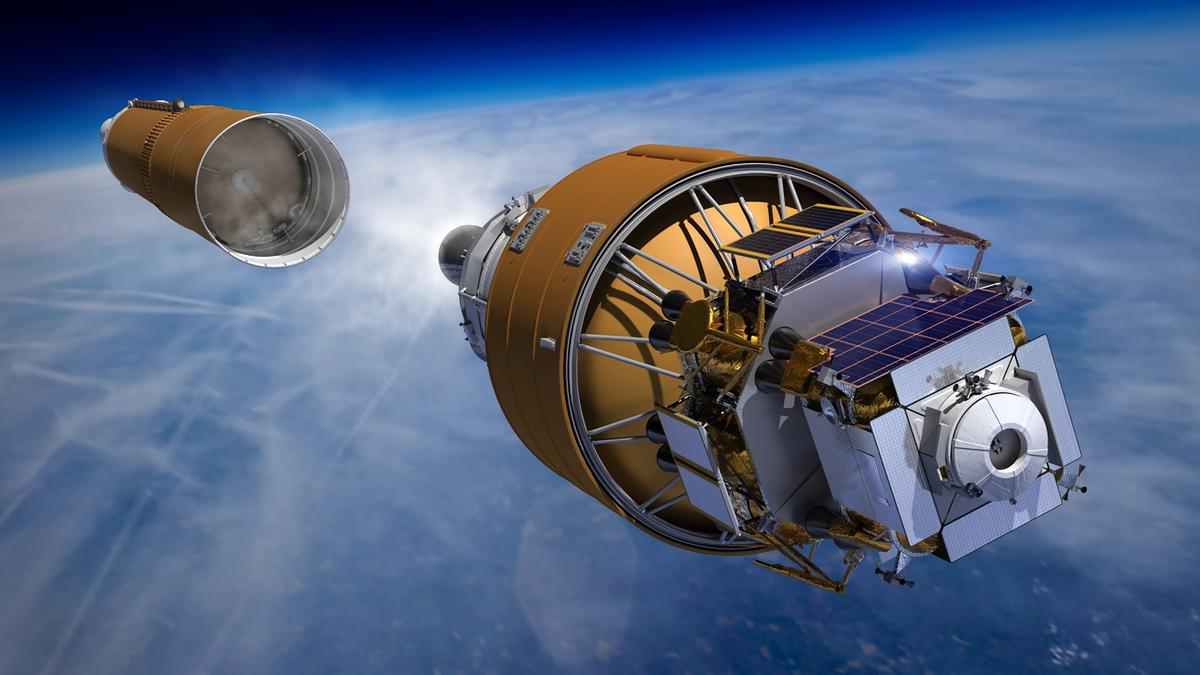 Boeing's Human Lander System heads into orbit on the strength of a Space Launch System rocket in this artist concept