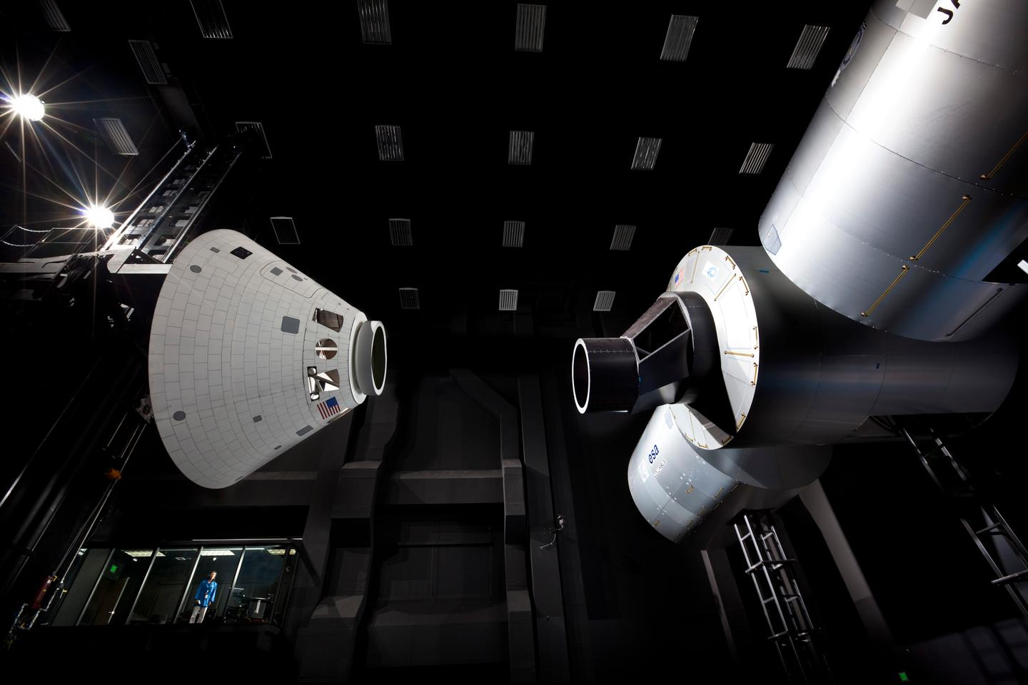 Lockheed Martin's Space Operations Simulation Center includes an 18,000 square-foot high bay area, here simulating on-orbit docking maneuvers with full-scale Orion and International Space Station mockups (Photo: NASA)