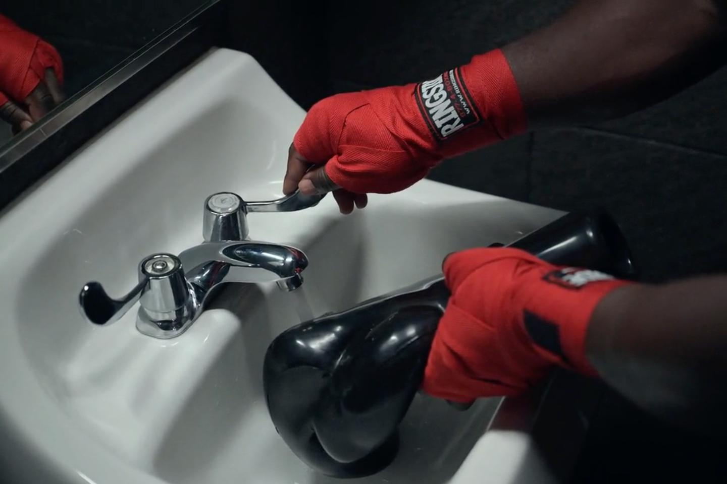 Although the gloves can be filled directly from the sink, they come with a measuring bottle to ensure that each glove gets the same amount of water