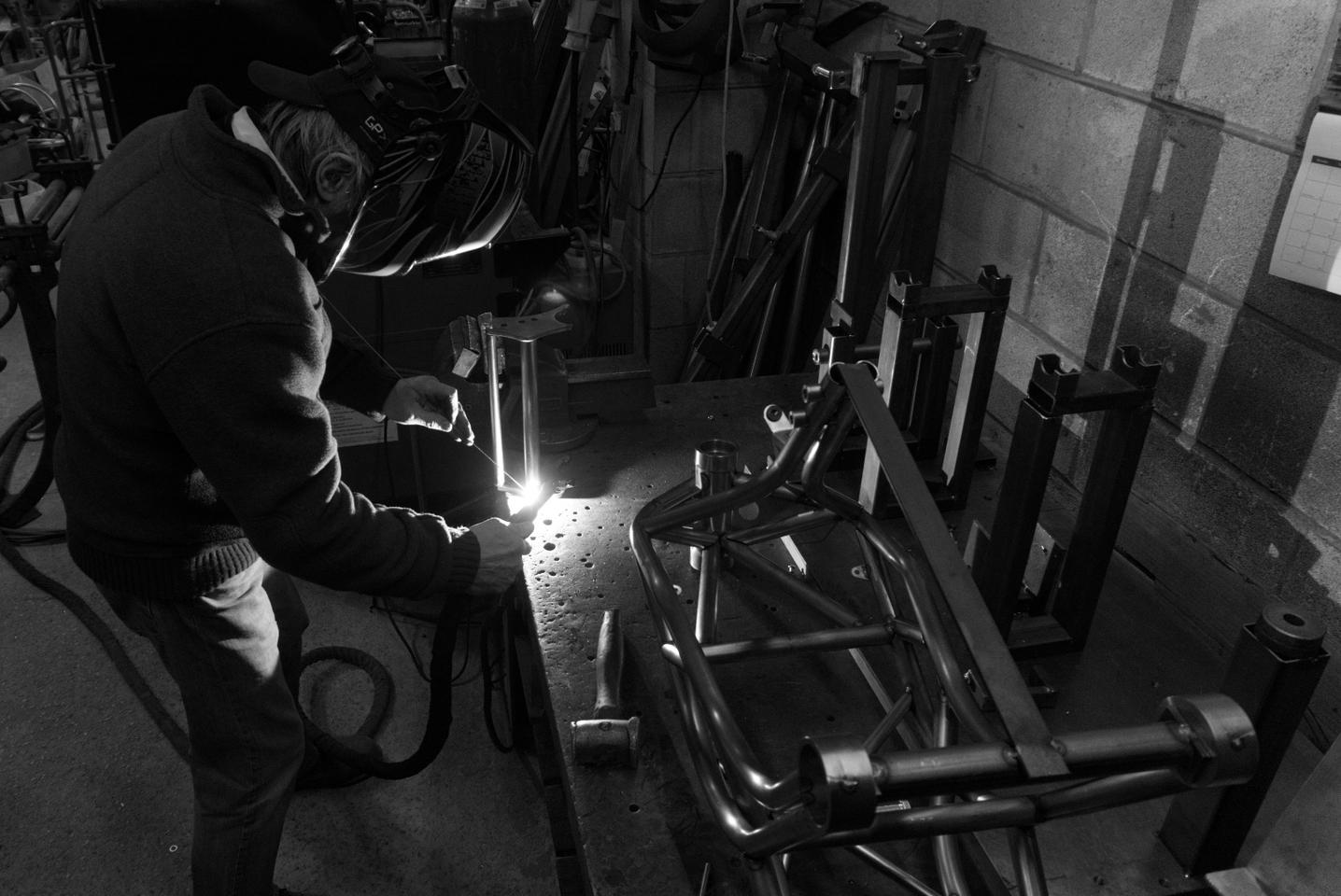 Welding the trellis frame of the CCM Spitfire