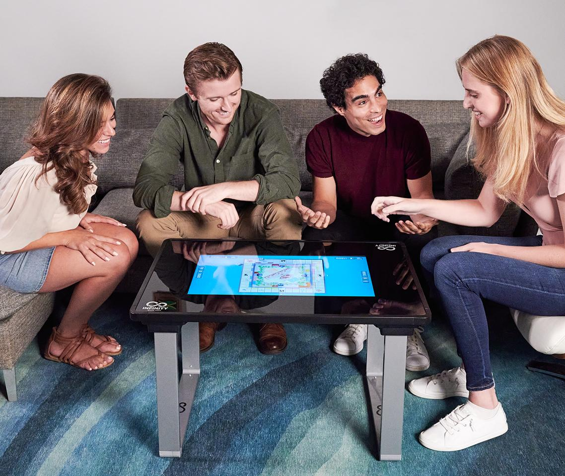 The Infinity Game Table has a large touchscreen with 10-points of input at once, catering for up to six players
