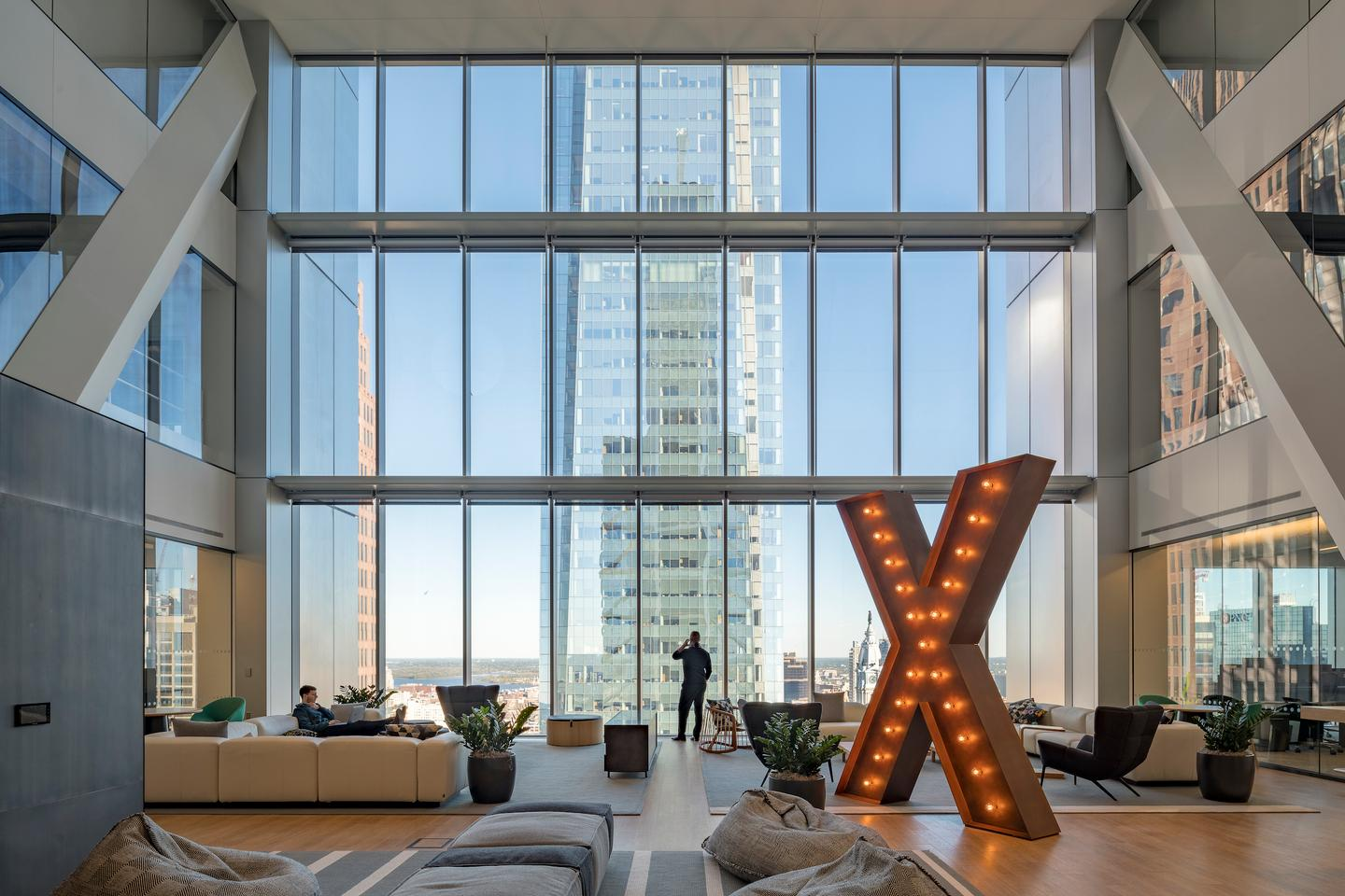 The Comcast Technology Center focuses on maximizing natural light inside