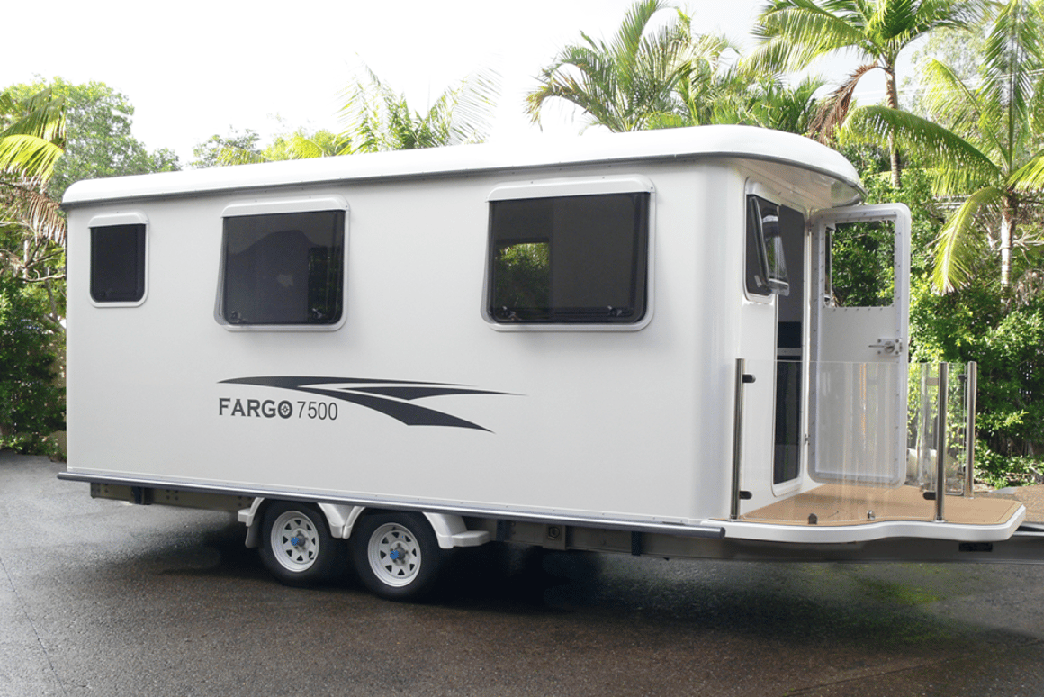 When ordered as a caravan, the Fargo cabin is attached to a dual-axle aluminum trailer