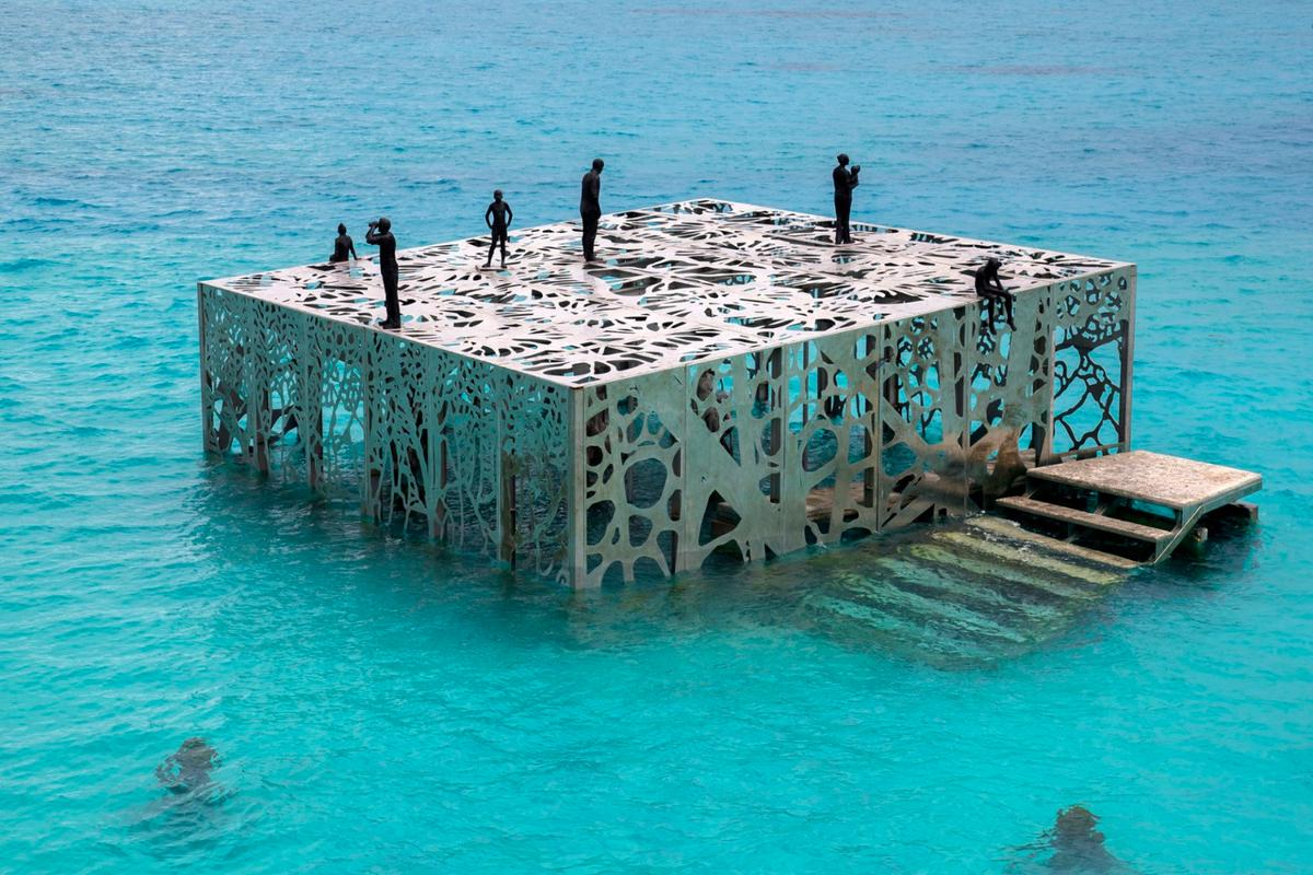 This is the first art gallery that is designed to be semi-submerged and visitors must swim out to explore it