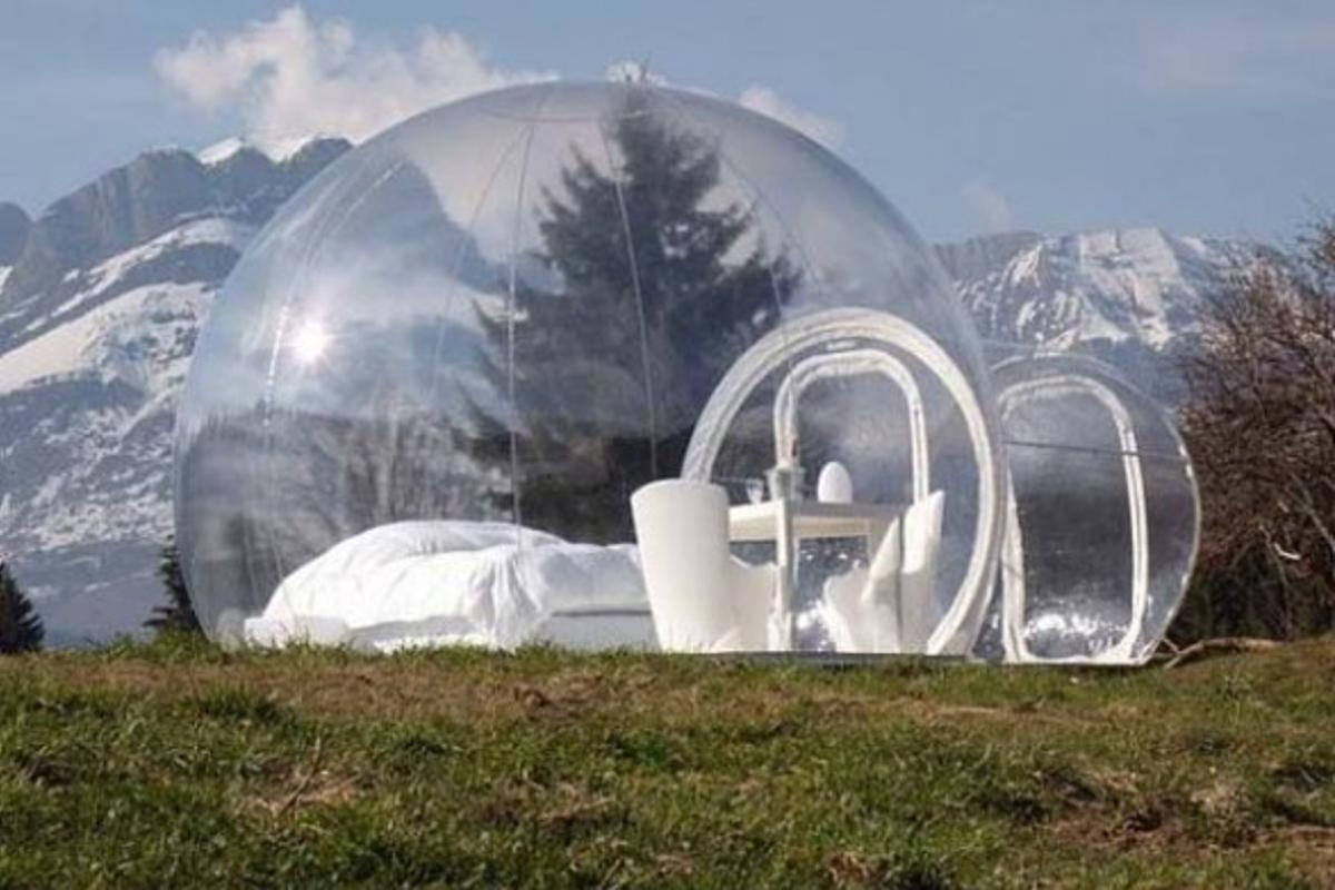 The Bubble collection is a range of portable transparent domed huts, created by French designer Pierre Stephane Dumas (Image by BubbleTree)