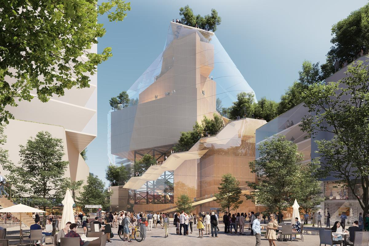 """The Hill Quarter & The Music Mountain will be defined by what MVRDV calls a """"glass mountain,"""" allowing visitors to ascend to the top and enjoy views of the surrounding area"""