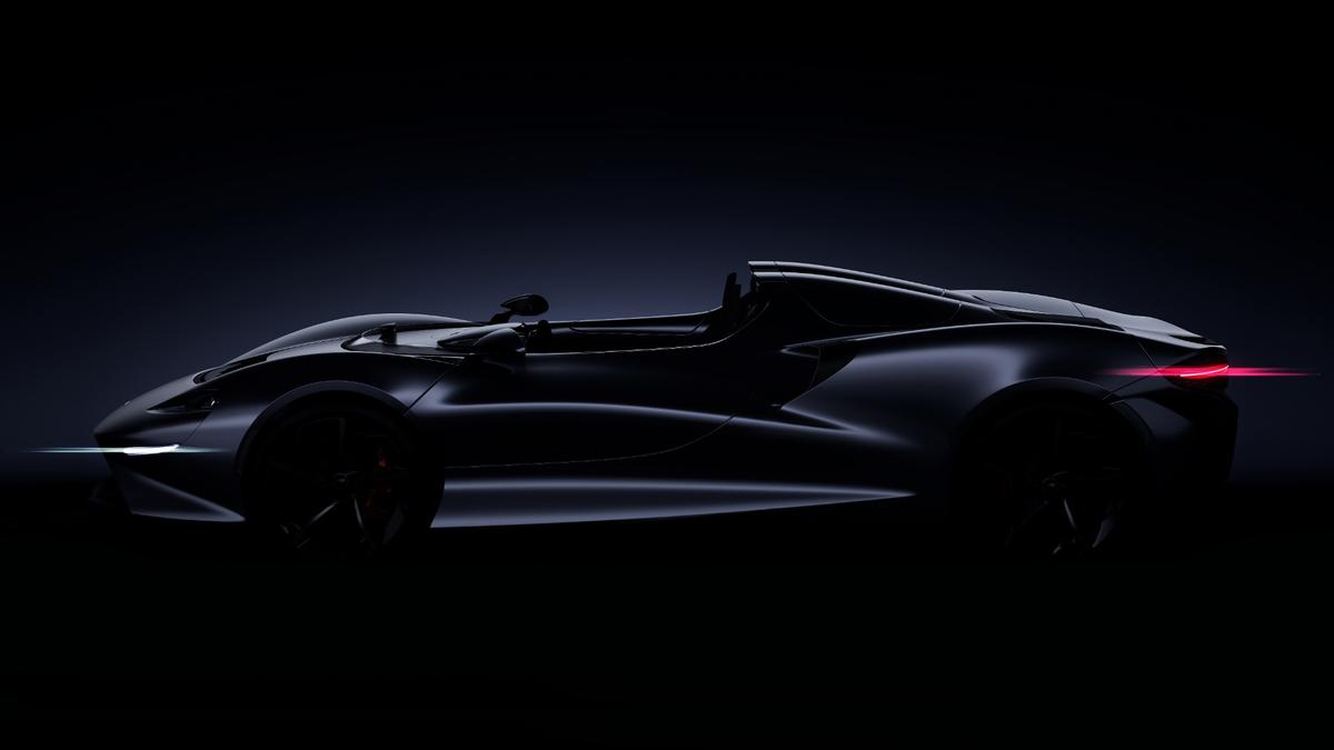 McLaren has released just one image of the new Ultimate Series model, whichshows that it will be in the classic roadster proportions, built to be low and wide