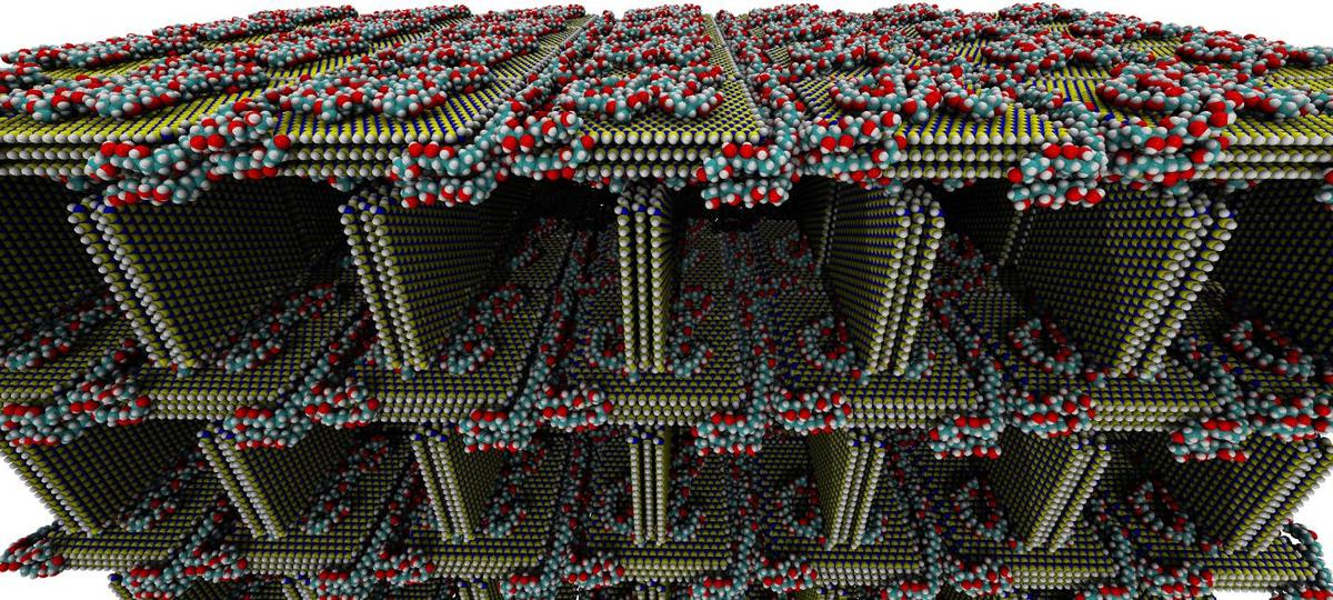Thissimulated image shows the structure of the foam, with sheets ofhexagonal-boron nitride (blue and yellow), with PVA molecules holding carbon (teal), oxygen (red) and hydrogen (white)