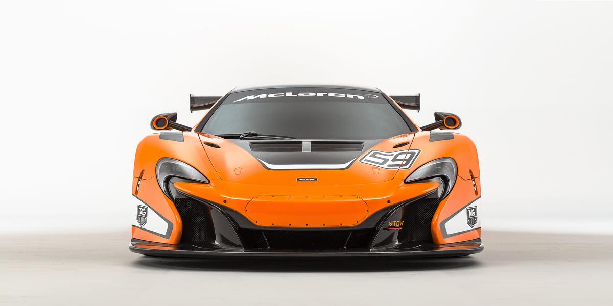 The McLaren 650S GT3 has a more aggressive front splitter than the road-going car