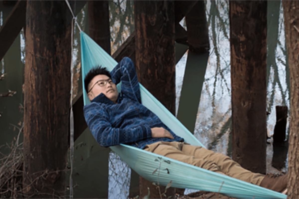 The DayLite Hammock is made from polyethelene and ripstop nylon