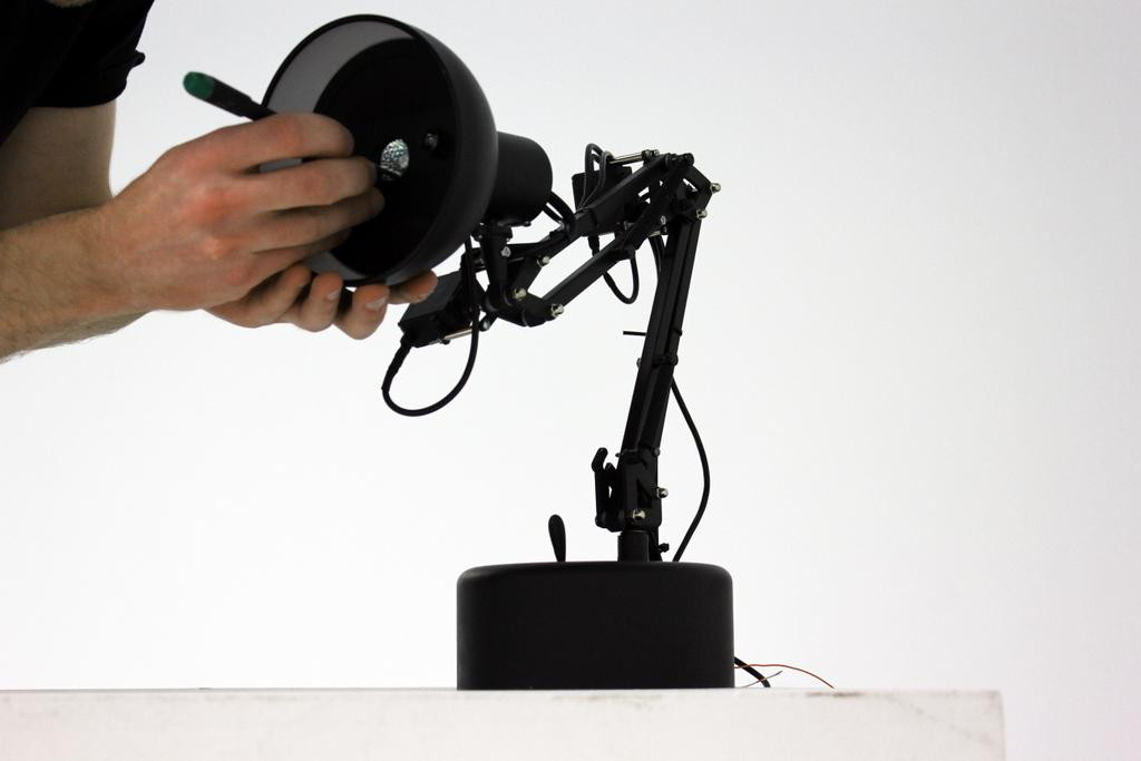 Although it looks like a standard desk lamp, many of Pinokio's components had to be redesigned to fit its electronics