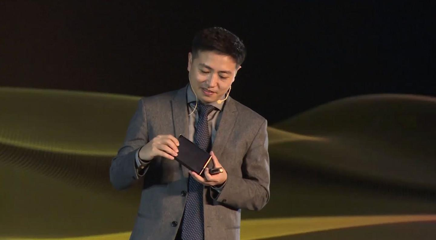 Royole Founder and CEO Dr. Bill Liu pulled out a working model of the upcoming FlexPai 2 foldin smartphone during the company's Technology and Strategic Partnership Conference