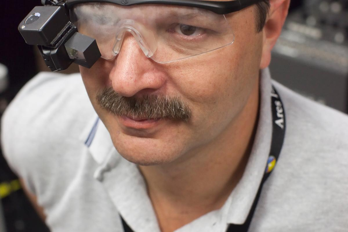 NASA Langley researcher Kevin Shelton wearing an early prototype (Credit: NASA Langley Research Center/Sean Smith)